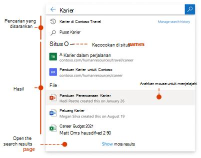 Kotak pencarian og cuplikan layar dengan kueri dan hasil yang disarankan