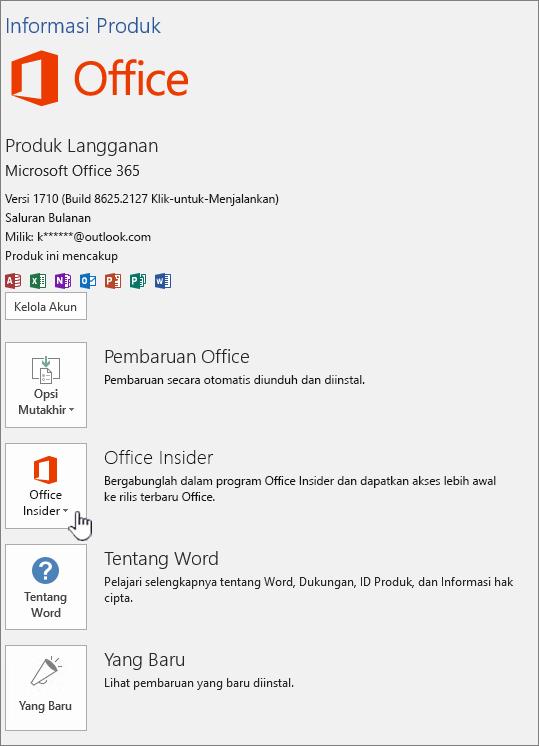 Pilih dalam aplikasi Office Insider.