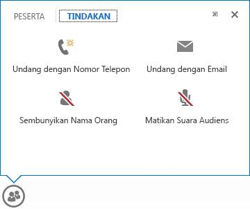 cuplikan layar menu yang menampilkan penunjuk saat diarahkan ke tombol orang, dengan tab tindakan dipilih