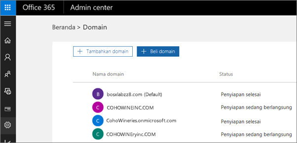 Pada halaman Kelola domain, klik Beli domain