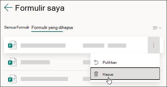 Menghapus formulir pada tab Formulir terhapus dari Microsoft Forms.