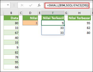 Rumus larik Excel untuk menemukan nilai n terkecil: = SMALL (B9 #, SEQUENCE (D9))