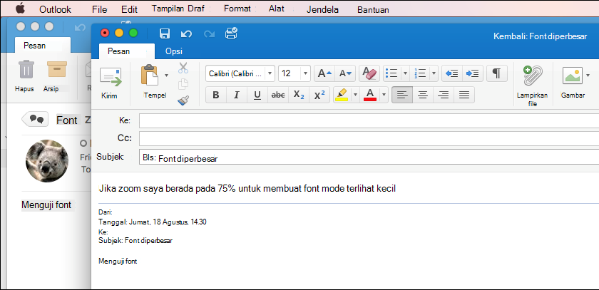 Ukuran Font Outlook for Mac