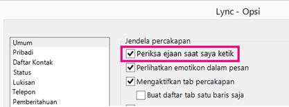 'Cuplikan layar jendela opsi umum dengan memeriksa ejaan disorot'