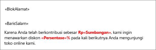Sampel dokumen gabungan surat yang berisi bidang bernama Sumbangan didahului dengan tanda dolar dan bidang bernama Persen diikuti dengan tanda persen.
