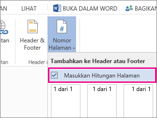 Gambar kotak centang untuk memilih menyertakan hitungan halaman dengan nomor halaman di dokumen (halaman X dari Y).