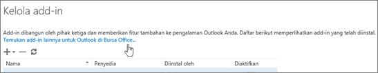 Cuplikan layar bagian halaman Kelola add-in tempat add-in yang diinstal tercantum plus tautan untuk menemukan lebih banyak add-in untuk Outlook di Bursa Office.