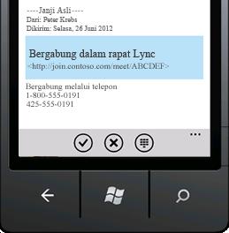 Cuplikan layar yang menampilkan Bergabung dalam Rapat Lync dari perangkat seluler Anda.