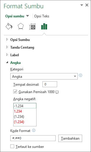 Bagian format angka dalam opsi sumbu