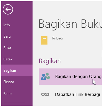 Cuplikan layar cara Berbagi dengan Orang Lain di OneNote 2016.