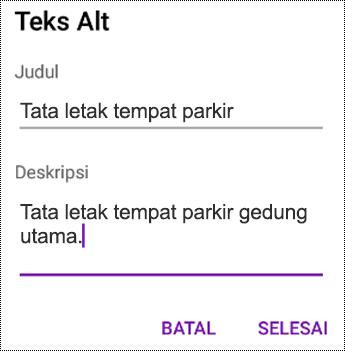 Menambahkan teks alt ke gambar di OneNote untuk Android