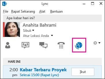 Cuplikan layar tab tampilan rapat