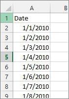 Kolom Tanggal di Excel