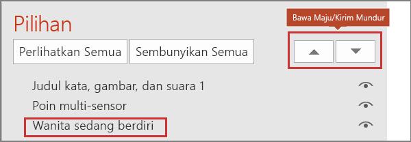 Antarmuka pengguna PowerPoint memperlihatkan item di tombol panel pilihan dan bawa maju kirim ke belakang.