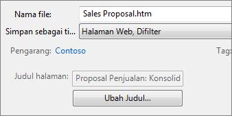 Kotak dialog Simpan Sebagai dengan Halaman Web, Difilter yang dipilih