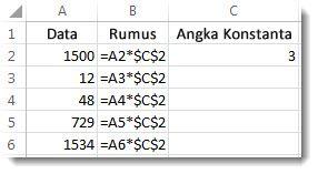 Angka di dalam kolom A, rumus di dalam kolom B dengan tanda $, dan angka tiga 3 di dalam kolom C