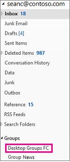 Panel navigasi Outlook 2016 dengan grup disorot