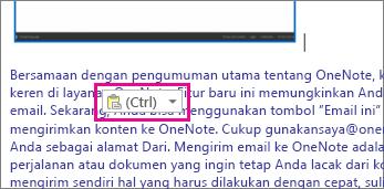 Ilustrasi tentang konten HTML yang ditempelkan dengan ikon tempel.