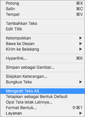 Opsi teks Alt di menu konteks untuk menambahkan teks alt ke bentuk