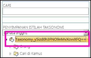 Cuplikan layar tampilan pohon dalam alat manajemen Penyimpanan Istilah, yang memperlihatkan nama taksonomi dan folder turunan.
