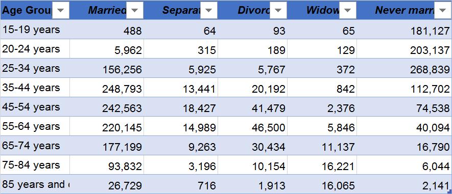 Sampel data dengan header kolom di bagian atas: umur, menikah, terpisah, bercerai, janda, dan tidak pernah menikah