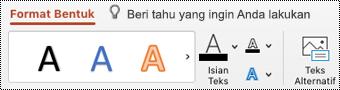 Tombol teks Alt pada pita untuk bentuk di PowerPoint untuk Mac.