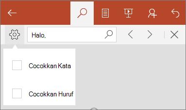 Memperlihatkan opsi untuk menemukan di PowerPoint Mobile: Cocokkan huruf, dan Match Word.