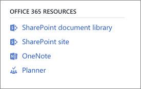 Cuplikan layar memperlihatkan sumber daya Office 365