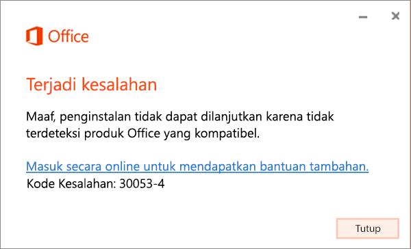 Pesan kesalahan 30053 ada sesuatu yang tidak beres