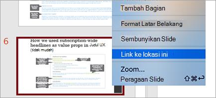 Memperlihatkan Link ke Slide di presentasi
