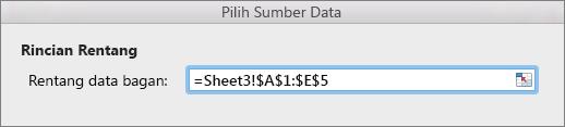 Memilih rentang data untuk sebuah bagan