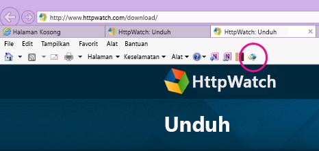 Toolbar Perintah Internet Explorer dengan ikon HTTPWatch ditampilkan.