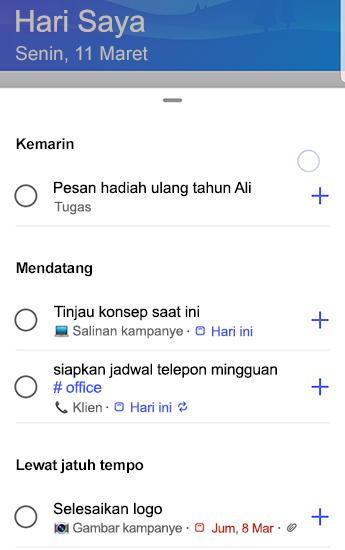 Cuplikan layar To-Do di Android dengan saran sepenuhnya terbuka dan dikelompokkan oleh kemarin, akan datang dan jatuh tempo.