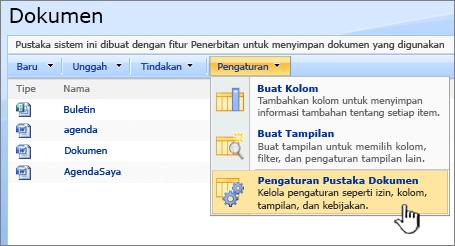 Memilih opsi pengaturan pustaka dokumen dari menu pengaturan