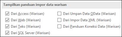 Gambar opsi Dapatkan & transformasi warisan panduan dari File > Opsi > Data.