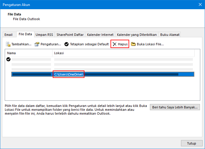 Dialog file data Outlook
