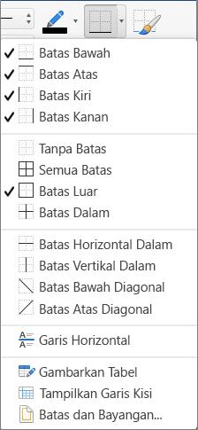 Opsi batas diperlihatkan untuk desain tabel