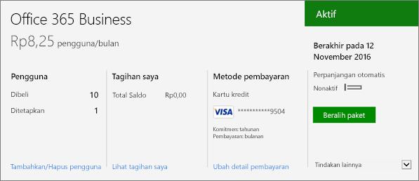 Cuplikan layar dari langganan di halaman Langganan pusat admin Office 365 yang memperlihatkan langganan mana yang Anda miliki serta status langganan tersebut.