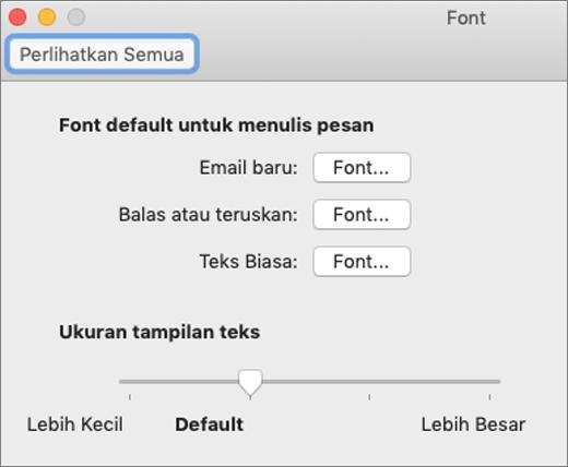 Kotak dialog Font
