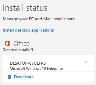 Memperlihatkan perintah Nonaktifkan untuk instalan Office 365 untuk bisnis