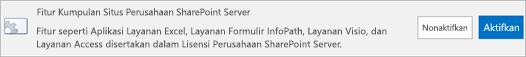 Mengaktifkan fitur kumpulan situs SharePoint Server Enterprise