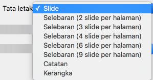 Memilih tata letak Slide dalam kotak dialog Cetak