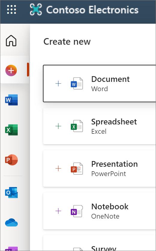 Baru: membuka layar Office.com memperlihatkan ikon untuk membuka dokumen baru atau Word, Excel, dsb.