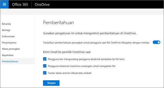 Tab pemberitahuan di pusat admin OneDrive