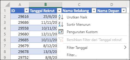 Gunakan Filter Tabel Excel untuk mengurutkan dalam urutan Naik atau Turun