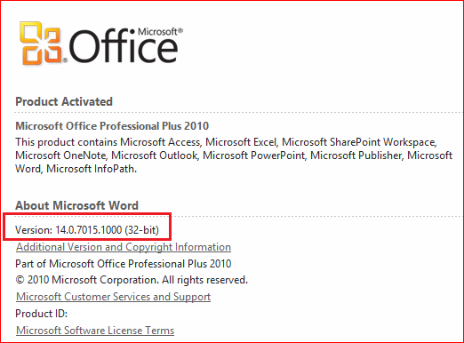 On the File tab, click Help. You will see the version information in the About Microsoft Application Name section.