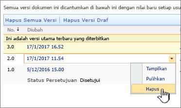Turun bawah penerapan versi di file dengan opsi Hapus disorot