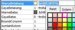 Properti isian warna untuk kotak kombo.