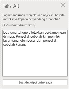 Dialog teks Alt di PowerPoint online.