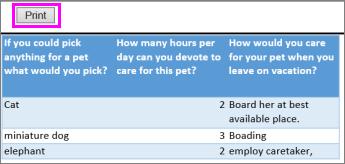 Cetak pratinjau pertanyaan dan jawaban survei